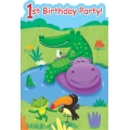 Jungle Buddies Party Invites Pop Up 1st Birthday